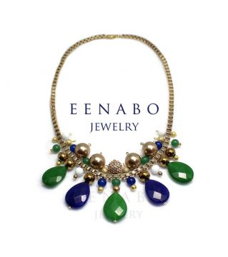 Ethnic Gemstone Chain Necklace, Jade Swarovski Pearl Statement Necklace