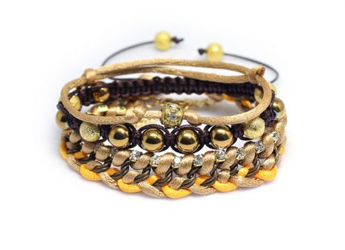 Handmade Ethnic Gold Hematite Chain and Bead Stacking Bracelets, Shamballa Style Knitted Bracelet