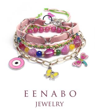 Handmade Gemstone and Chain Stacking Bracelet, Colourful Rhinestone Knitted and Charm Bracelet