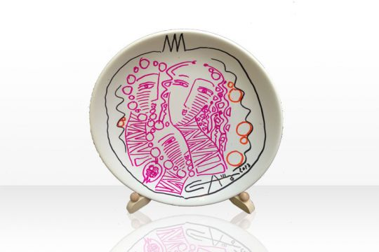 Alexander Terziev Artist - Hand Painted Drawing White and Pink Plate