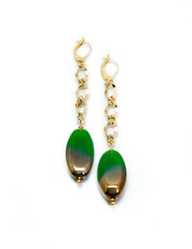 Green and Gold Electroplate Glass Chain Earrings
