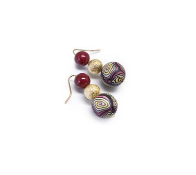 Red and Gold Shell Pearl Earrings