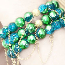 Blue, Gold and Green Crackle Glass Bead Bracelet