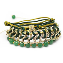 Handmade Jade Chain and Bead Stack Bracelet in Green and Gold
