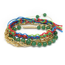Handmade Gemstone and Chain Stacking Bracelet, Colourful Knitted Friendship Bracelet