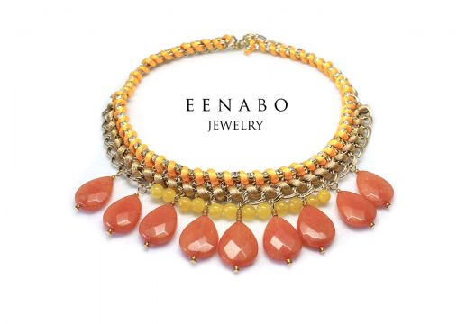 Tribal Necklace in yellow, gold and orange