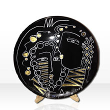 Alexander Terziev Artist - Hand Painted Drawing Black and Gold Plate